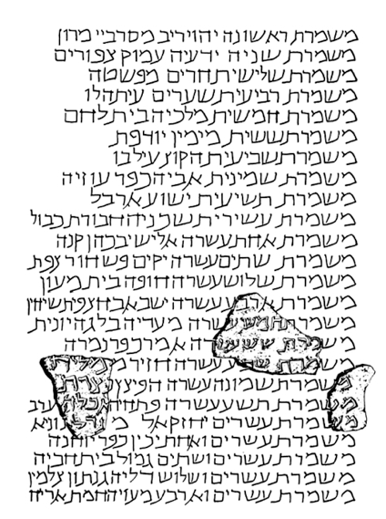 The Caesarea inscription as reconstructed by Avi-Yonah.Fragment C (top) is lost. Fragments A and B supposedly begin and end the same lines of text.