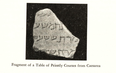 The lost (and largest) fragment C from a photo published by S. Talmon in 1958. It allegedly contains parts of lines 14-17 of the list of priestly courses.