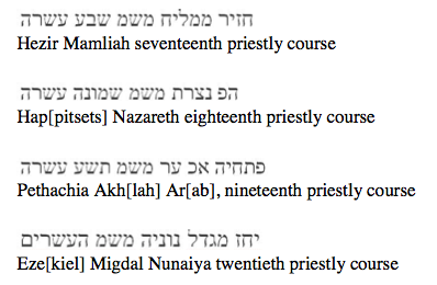geniza priestly courses