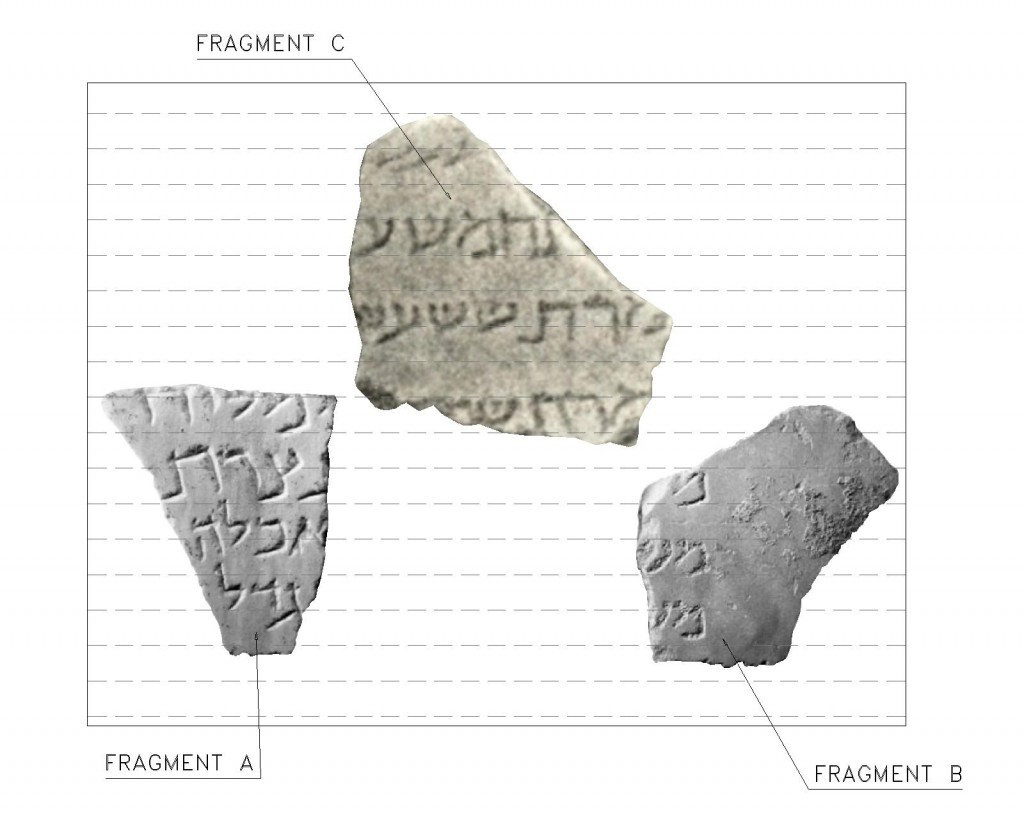 Fig. 1. Fragment C scaled according to the lettering (mem) of fragment A. The horizontal lines are 20mm apart.