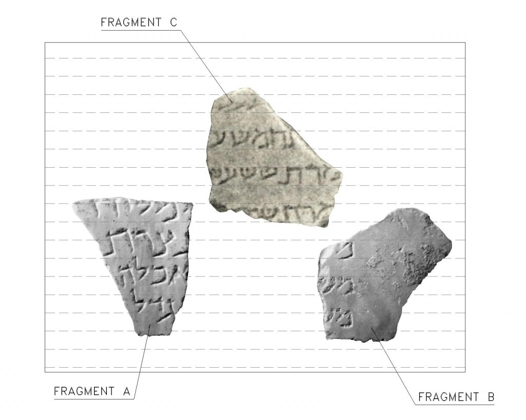 Fig. 1. Fragment C scaled according to the lettering (mem) of fragment B. The horizontal lines are 20mm apart.