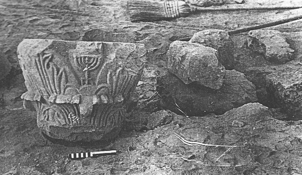 A capital with inscribed menorah as found in Area A. Original findspot unknown. The capital was probably brought in from elsewhere and reused in a public building. (From Govaars 2009, Fig. 38.)