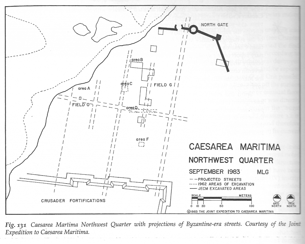 """Area A (later renamed """"Field O""""). Note that very little of the gross area was actually excavated in 1962: only the areas B, C, D, and F in dotted lines, along with """"area A"""" in upper left. (From M. L. Govaars 2009:137.)"""