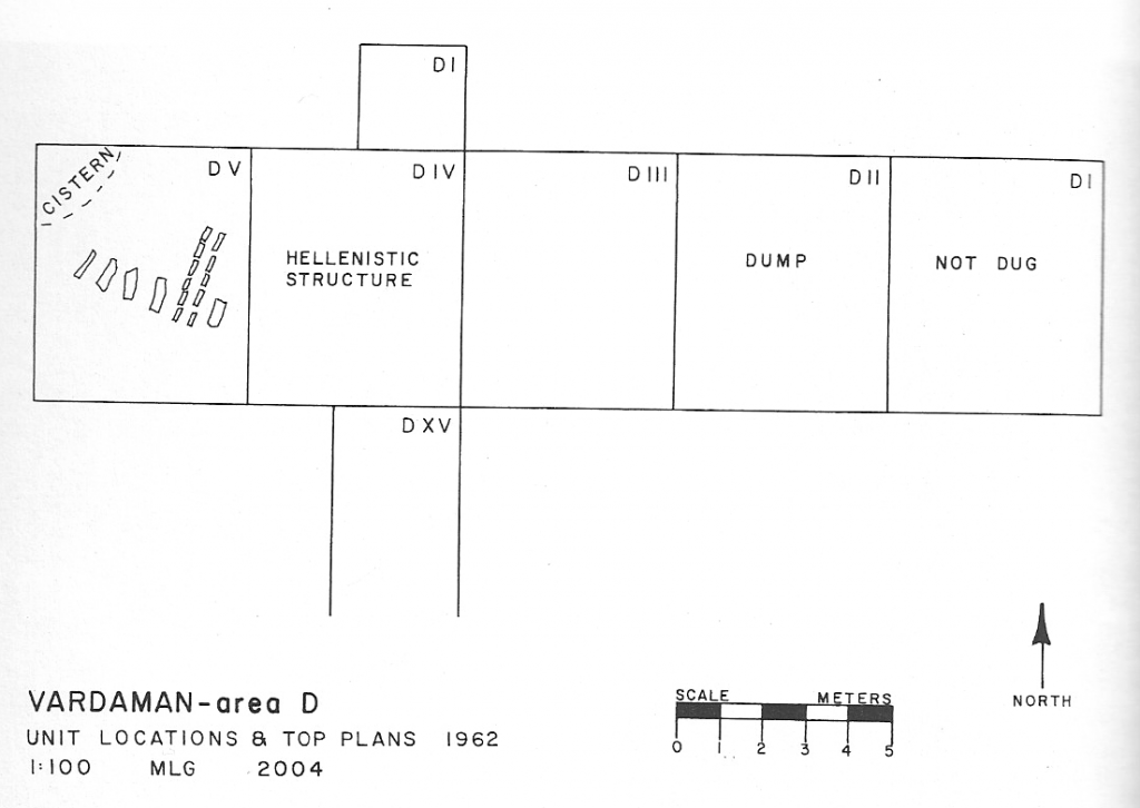 """Plan of the trench """"Area D"""" at Caesarea Maritima. Fragment A was found in a debris basket from sector D.V at left. (From Govaars 2009:53)"""