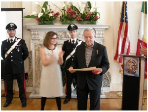 New York Antiquities dealer Jerome Eisenberg receives a decoration from the Italian government.