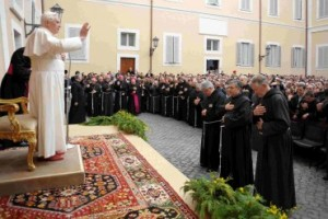 Pope Benedict VI blessing Franciscans in 2009, at the 800th anniversary of the founding of the Franciscan order.