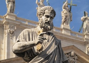 "St. Peter holding the ""key"" (at the Vatican)."