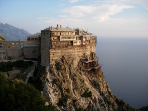 The monastery of Simonos Petra (Simon Peter) at Mount Athos, Greece.