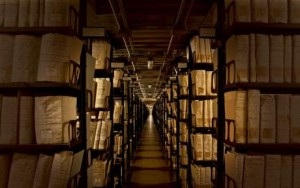 Some of the fifty miles of bookshelves in the Vatican secret archive.