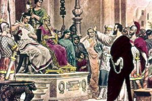"Paul before the Roman procurator Porcius Festus.""I have in no way committed an offense against the law of the Jews, or against the temple, or against the emperor"" (Acts 25:8)."