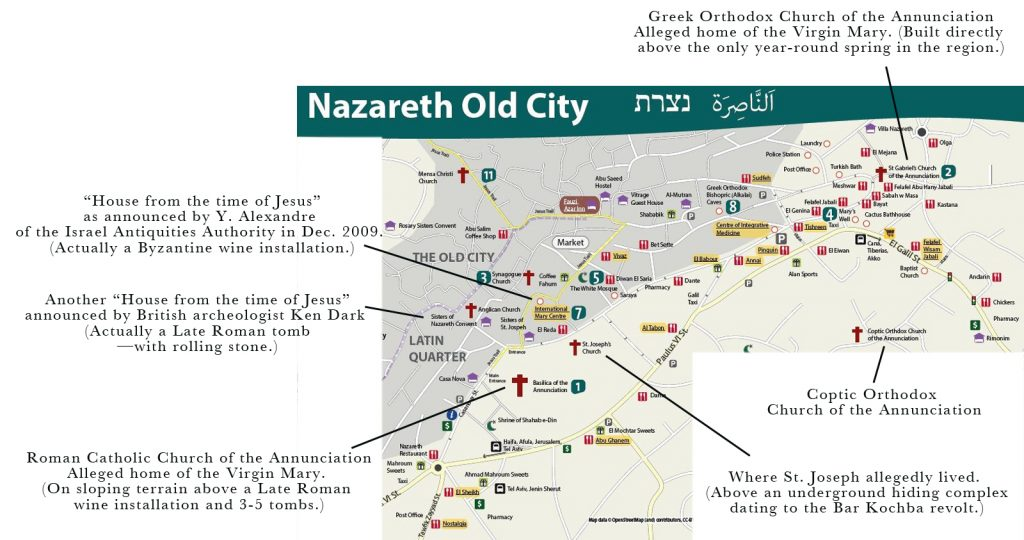 "A standard tourist map of Nazareth. Some major pilgrim sites are indicated with comments (expanded in my book ""NazarethGate""). There are three claimed venues of the Annunciation, now under three churches indicated above."