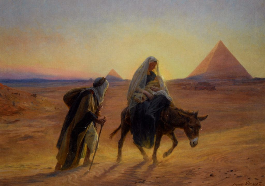 Flight Into Egypt by French artist Eugene-Alexis Girardet.>br>Did Christianity garble an earlier flight?