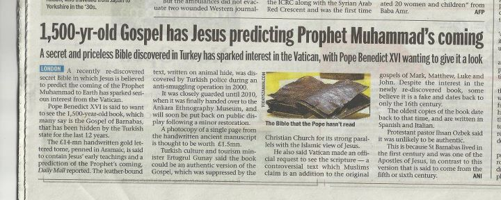 2012 London Daily Mail article on the recent discovery of a potentially third manuscript of the Gospel of Barnabas. (Click on photo for extended story.)