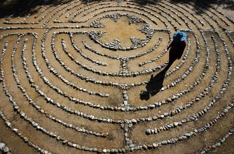 Going around in circles.(A labyrinth at St Margaret's Anglican Church, Eltham, UK.)