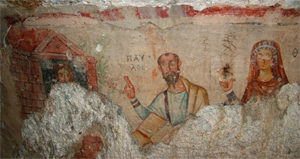 Paul and Thecla, fresco from an early Christian cave shrine near Ephesus, western Asia Minor.